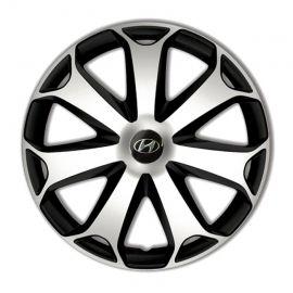 4 RACING Mega Silver&Black R14 Колпаки для колес с логотипом Hyundai (Комплект 4 шт.)