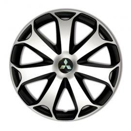 4 RACING Mega Silver&Black R15 Колпаки для колес с логотипом Mitsubishi (Комплект 4 шт.)