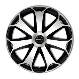4 RACING Mega Silver&Black R13 Колпаки для колес с логотипом Opel (Комплект 4 шт.)