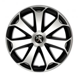 4 RACING Mega Silver&Black R13 Колпаки для колес с логотипом Peugeot (Комплект 4 шт.)