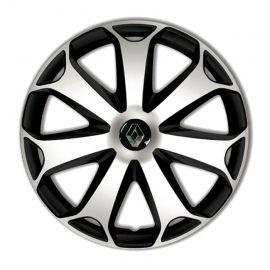 4 RACING Mega Silver&Black R14 Колпаки для колес с логотипом Renault (Комплект 4 шт.)