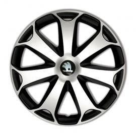 4 RACING Mega Silver&Black R15 Колпаки для колес с логотипом Skoda (Комплект 4 шт.)