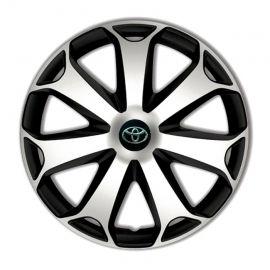 4 RACING Mega Silver&Black R13 Колпаки для колес с логотипом Toyota (Комплект 4 шт.)