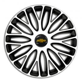 4 RACING Mugello White&Black R14 Колпаки для колес c логотипом Chevrolet (Комплект 4 шт.)