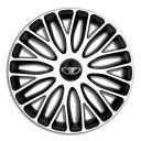 4 RACING Mugello White&Black R13 Колпаки для колес c логотипом Daewoo (Комплект 4 шт.)