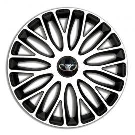 4 RACING Mugello White&Black R14 Колпаки для колес c логотипом Daewoo (Комплект 4 шт.)