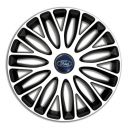 4 RACING Mugello White&Black R13 Колпаки для колес c логотипом Ford (Комплект 4 шт.)