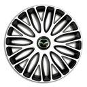 4 RACING Mugello White&Black R13 Колпаки для колес c логотипом Mazda (Комплект 4 шт.)