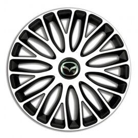 4 RACING Mugello White&Black R14 Колпаки для колес c логотипом Mazda (Комплект 4 шт.)