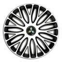 4 RACING Mugello White&Black R13 Колпаки для колес c логотипом Mitsubishi (Комплект 4 шт.)