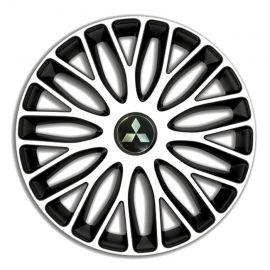 4 RACING Mugello White&Black R15 Колпаки для колес c логотипом Mitsubishi (Комплект 4 шт.)
