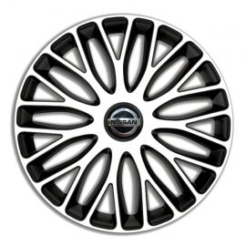 4 RACING Mugello White&Black R15 Колпаки для колес c логотипом Nissan (Комплект 4 шт.)