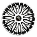 4 RACING Mugello White&Black R13 Колпаки для колес c логотипом Peugeot (Комплект 4 шт.)