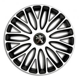 4 RACING Mugello White&Black R16 Колпаки для колес c логотипом Peugeot (Комплект 4 шт.)