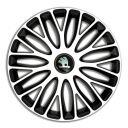 4 RACING Mugello White&Black R13 Колпаки для колес c логотипом Skoda (Комплект 4 шт.)