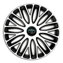 4 RACING Mugello White&Black R14 Колпаки для колес c логотипом Toyota (Комплект 4 шт.)