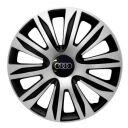 4 RACING Nardo Silver&Black R13 Колпаки для колес с логотипом Audi (Комплект 4 шт.)
