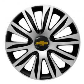 4 RACING Nardo Silver&Black R16 Колпаки для колес с логотипом Chevrolet (Комплект 4 шт.)