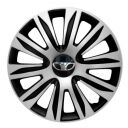 4 RACING Nardo Silver&Black R13 Колпаки для колес с логотипом Daewoo (Комплект 4 шт.)