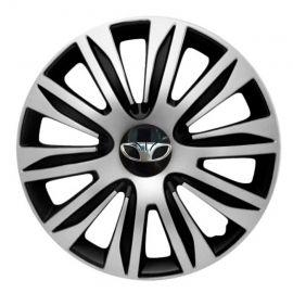 4 RACING Nardo Silver&Black R16 Колпаки для колес с логотипом Daewoo (Комплект 4 шт.)