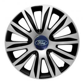 4 RACING Nardo Silver&Black R13 Колпаки для колес с логотипом Ford (Комплект 4 шт.)