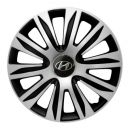 4 RACING Nardo Silver&Black R13 Колпаки для колес с логотипом Hyundai (Комплект 4 шт.)