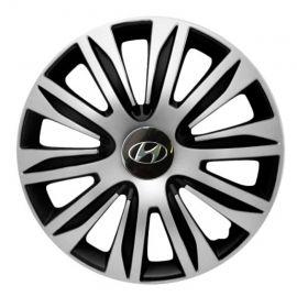 4 RACING Nardo Silver&Black R15 Колпаки для колес с логотипом Hyundai (Комплект 4 шт.)