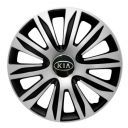 4 RACING Nardo Silver&Black R13 Колпаки для колес с логотипом Kia (Комплект 4 шт.)