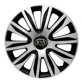4 RACING Nardo Silver&Black R14 Колпаки для колес с логотипом Kia (Комплект 4 шт.)