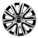 4 RACING Nardo Silver&Black R13 Колпаки для колес с логотипом Mazda (Комплект 4 шт.)