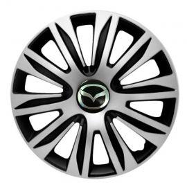4 RACING Nardo Silver&Black R16 Колпаки для колес с логотипом Mazda (Комплект 4 шт.)