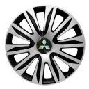 4 RACING Nardo Silver&Black R13 Колпаки для колес с логотипом Mitsubishi (Комплект 4 шт.)