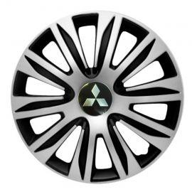 4 RACING Nardo Silver&Black R16 Колпаки для колес с логотипом Mitsubishi (Комплект 4 шт.)