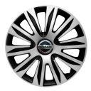 4 RACING Nardo Silver&Black R13 Колпаки для колес с логотипом Nissan (Комплект 4 шт.)