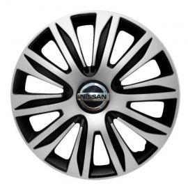 4 RACING Nardo Silver&Black R14 Колпаки для колес с логотипом Nissan (Комплект 4 шт.)