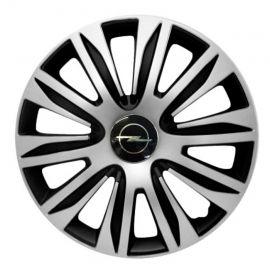 4 RACING Nardo Silver&Black R15 Колпаки для колес с логотипом Opel (Комплект 4 шт.)
