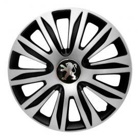 4 RACING Nardo Silver&Black R13 Колпаки для колес с логотипом Peugeot (Комплект 4 шт.)