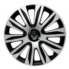 4 RACING Nardo Silver&Black R15 Колпаки для колес с логотипом Renault (Комплект 4 шт.)