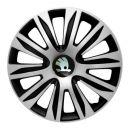 4 RACING Nardo Silver&Black R13 Колпаки для колес с логотипом Skoda (Комплект 4 шт.)