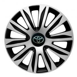 4 RACING Nardo Silver&Black R13 Колпаки для колес с логотипом Toyota (Комплект 4 шт.)