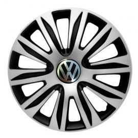 4 RACING Nardo Silver&Black R14 Колпаки для колес с логотипом Volkswagen (Комплект 4 шт.)