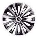 J-TEC Multi Silver&Black R14 Колпаки для колес с логотипом Peugeot (Комплект 4 шт.)